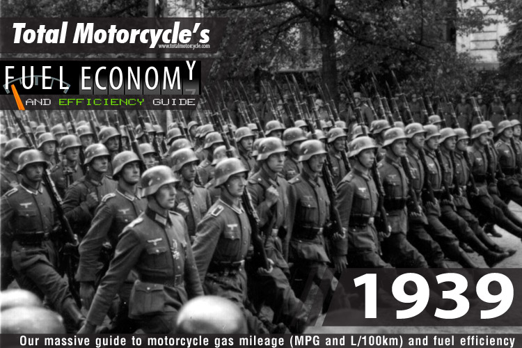 1939 Motorcycle Model Fuel Economy Guide in MPG and L/100km