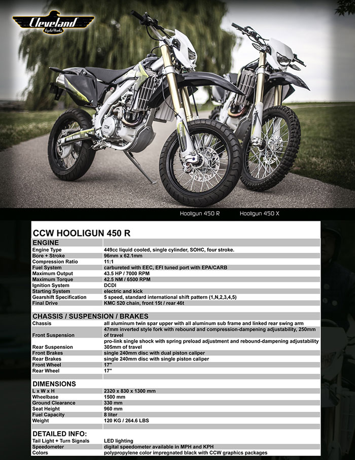 2017 Cleveland CycleWerks Hooligan X 450 Specifications