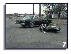 7. The car turned left in front of the motorcycle. The cyclist was not wearing a helmet and suffered severe injuries from which he eventually recovered. The driver of the vehicle was charged with failure to yield.