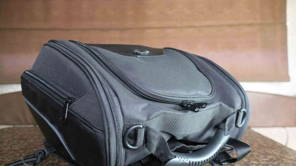 Full-frame image of the Viking Sport Tail Bag, highlighting the dark black material and rugged zippers.
